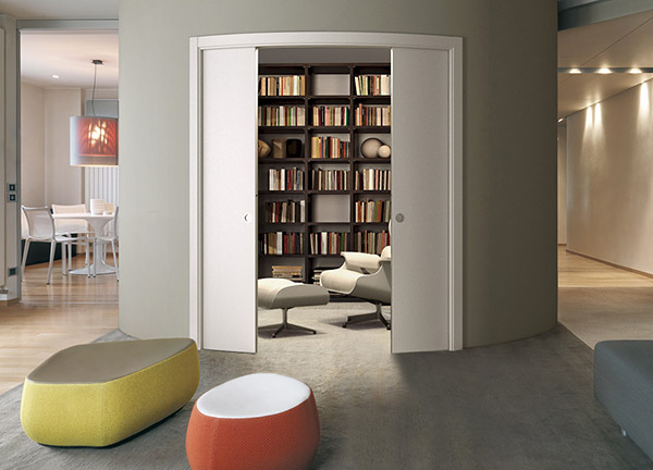 ECLISSE curved double sliding pocket door system