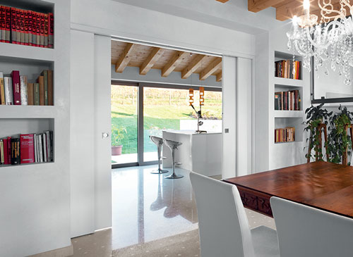 Telescopic sliding pocket doors