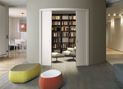 Curved sliding pocket doors