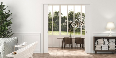 Double - sliding pocket door for large access